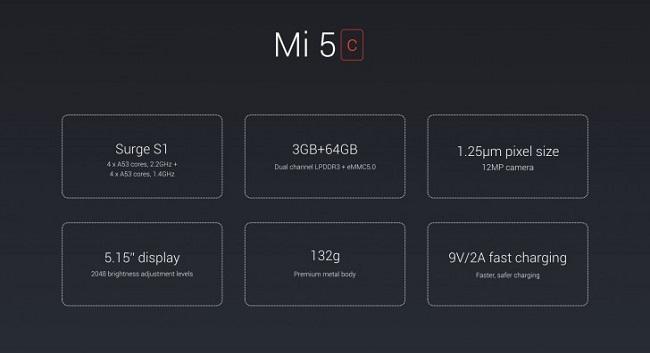Cấu hình Xiaomi Mi 5c