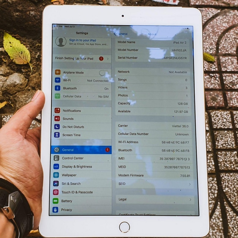 cấu hình iPad Air 2 128GB 4G Cũ Like New 99%