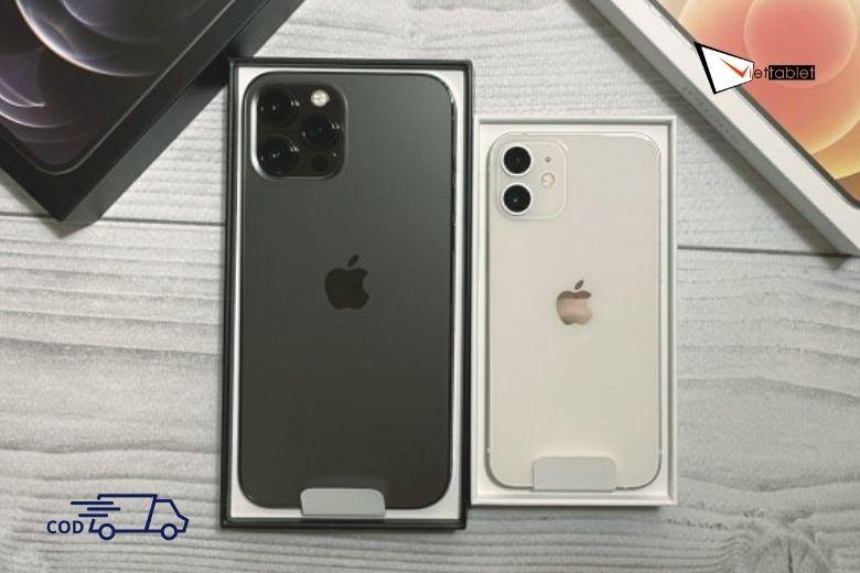 iPhone 12 Mini bên cạnh iPhone 12 Pro cũ chính hãng Fullbox trên kệ Viettablet với giá bán rẻ nhất thị trường