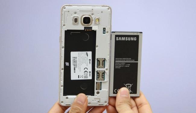 Nắp lưng Samsung Galaxy J5 2016 có thể tháo rời