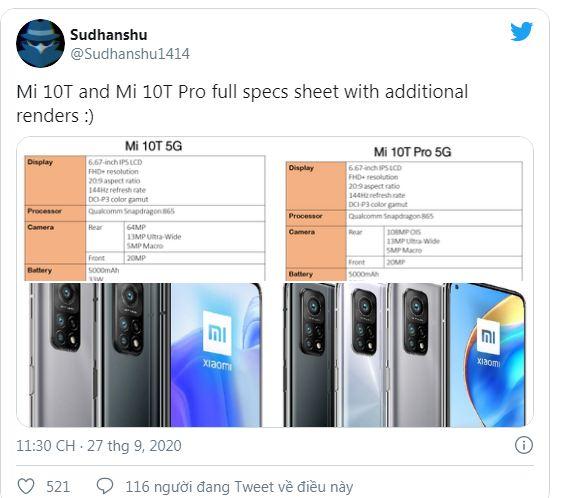 cấu hình Xiaomi Mi 10T và Mi 10T Pro