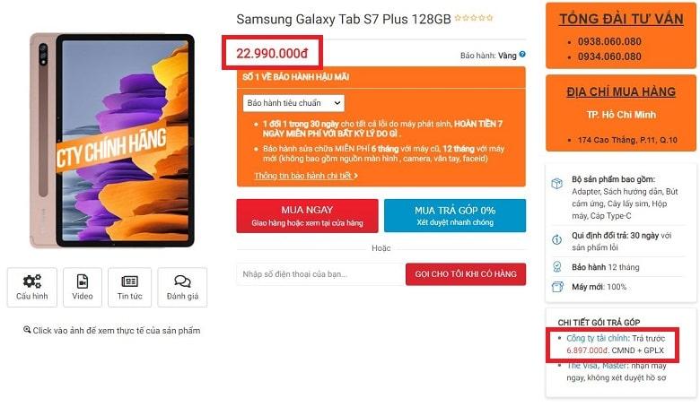 Đặt muaSamsung Galaxy Tab S7Plus