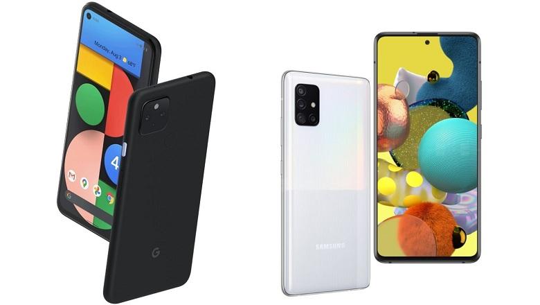 màn hình Google Pixel 4a 5G với Galaxy A51 5G