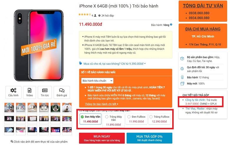 giá iphone x fullbox