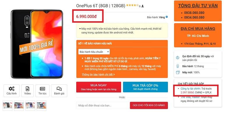 giá oneplus 6t