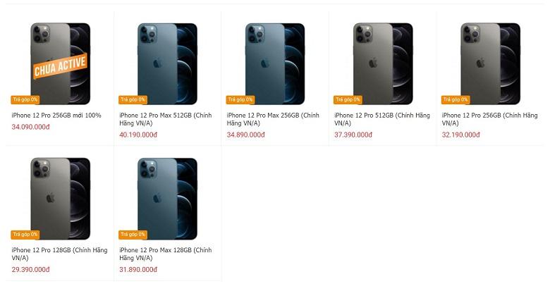 giá iphone 12 pro