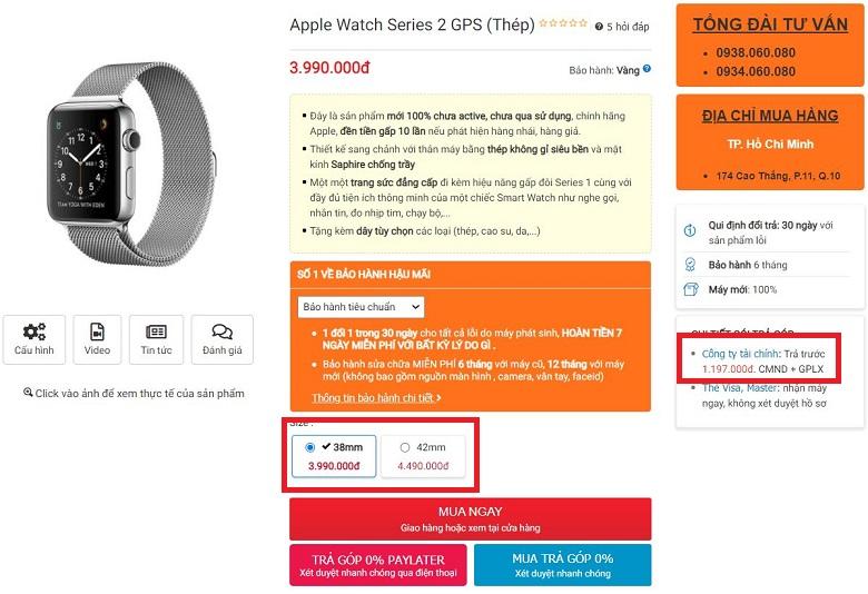 giá apple watch series 2 bản thép