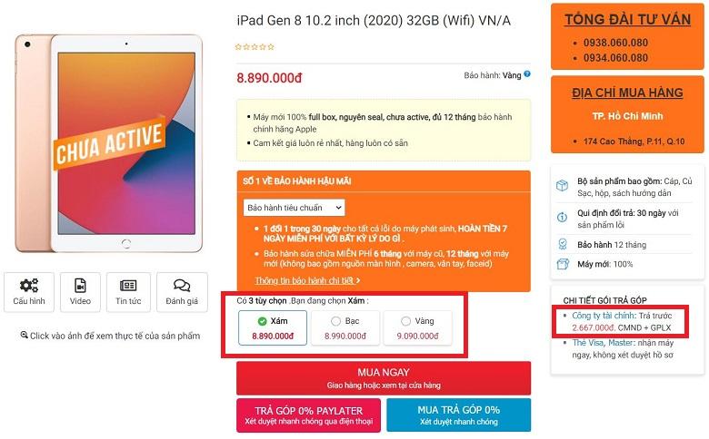giá ipad gen 8 2020 32gb chính hãng vn/a