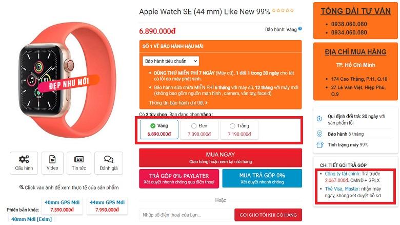 đặt mua apple watch se like new