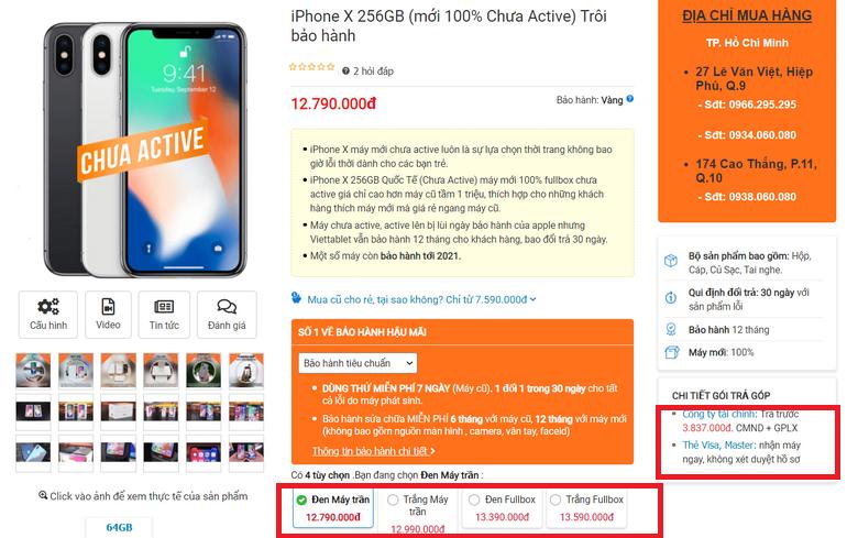 giá bán iPhone X