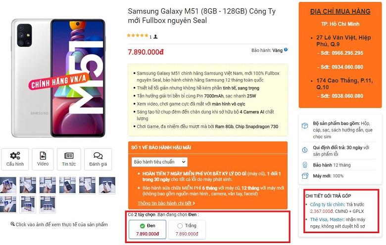 Mua ngay Samsung Galaxy M51