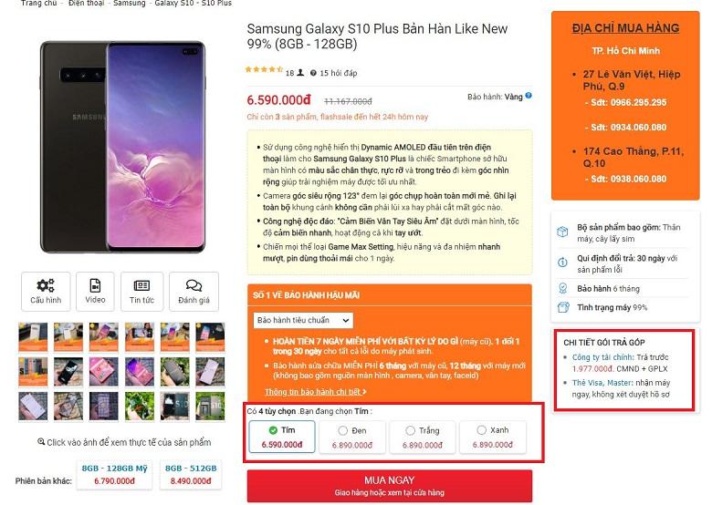 Mua ngay Samsung Galaxy S10 Plus bản Hàn