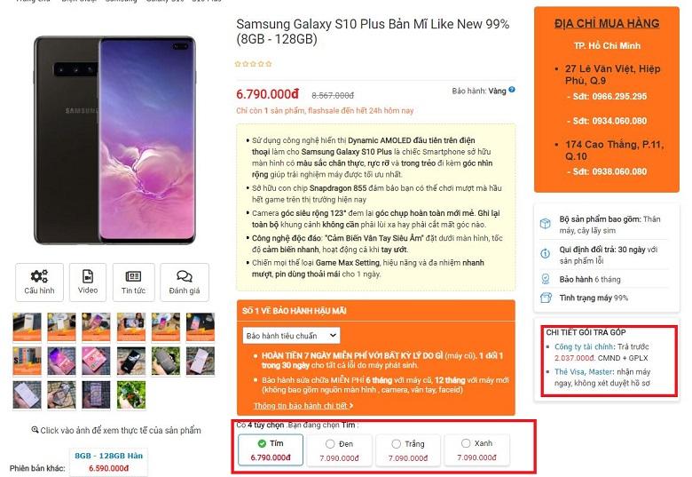 Mua ngay Samsung Galaxy S10 Plus