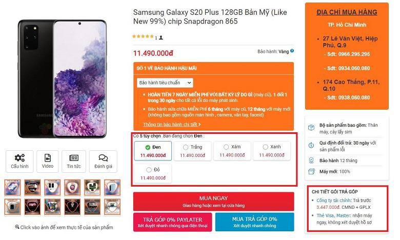 Mua ngay Samsung Galaxy S20 Plus chip Mỹ