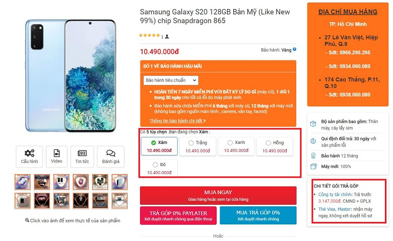 Mua ngay Samsung Galaxy S20 chip Mỹ