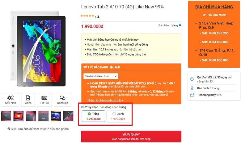 Giá bán Lenovo Tab 2 A10-70