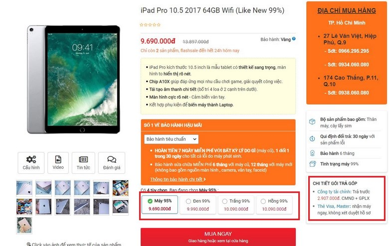 Mua ngay iPad Pro 10.5 inch Like New 99%