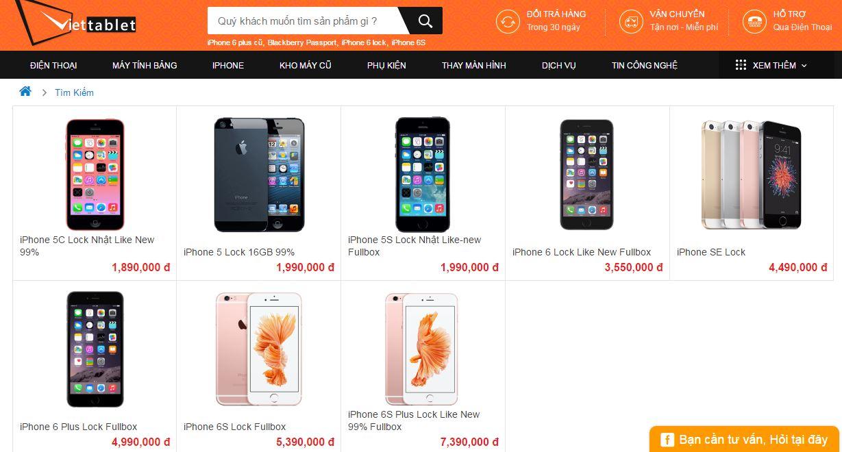Giá bán iPhone Lock tại Viettablet