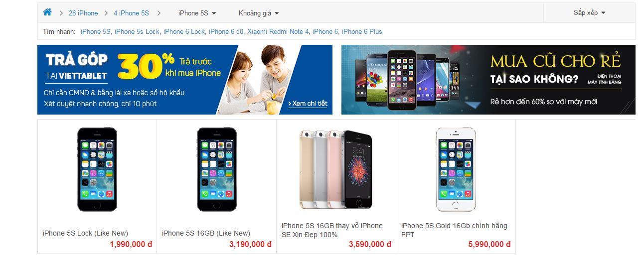 Giá bán iPhone 5S