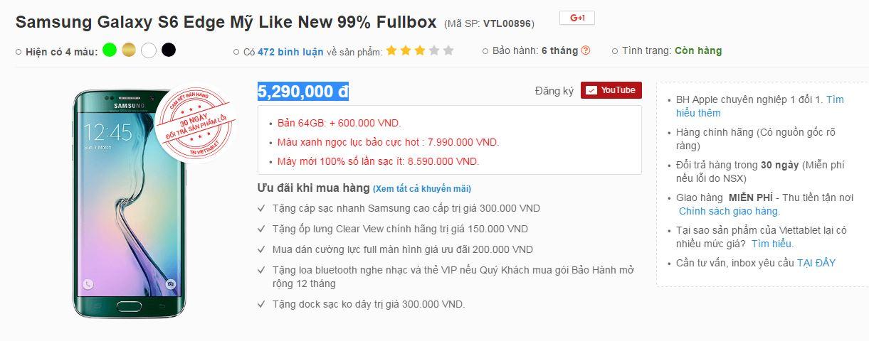 Đặt mua Samsung Galaxy S6 Edge