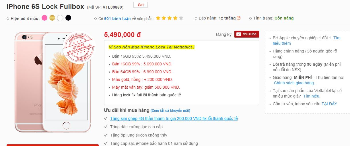 Giá bán iPhone 6S Lock