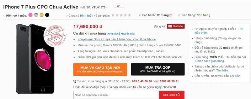 iPhone 7 Plus CPO là gì: giá bán