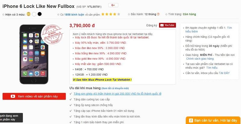 giá bán iPhone 6 Lock