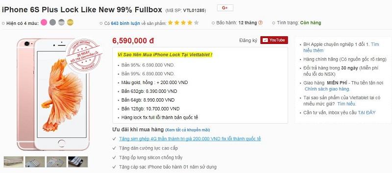 Đặt mua iPhone 6S Plus Lock