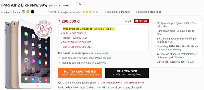 giá bán iPad Air 2