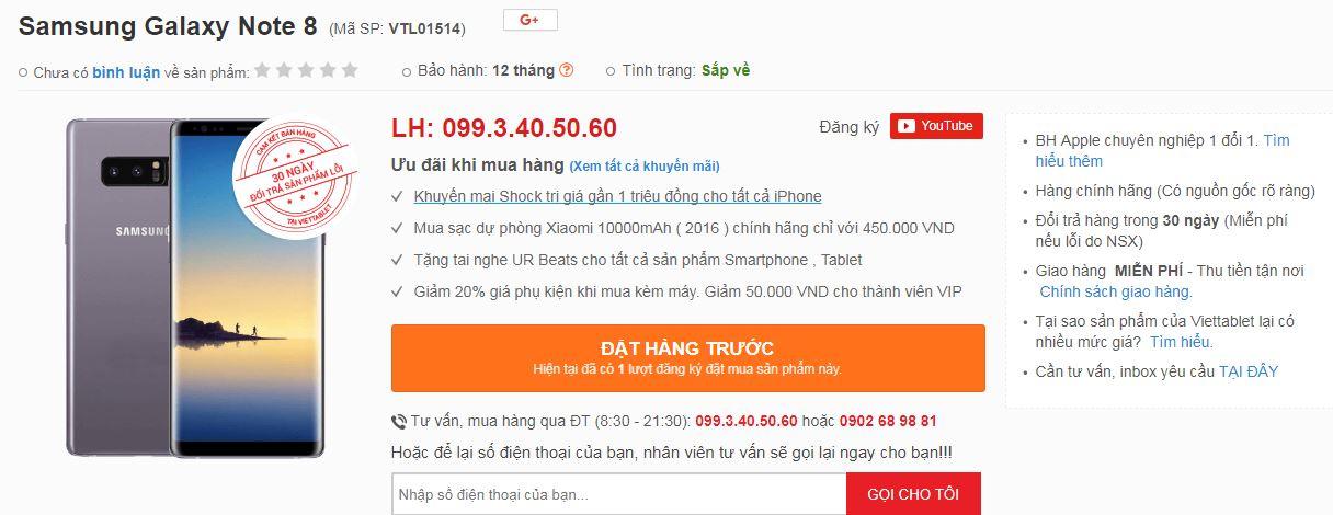 Đặt mua Samsung Galaxy Note 8
