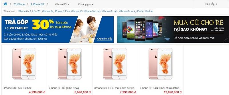 giá bán iPhone 6S tại Viettablet