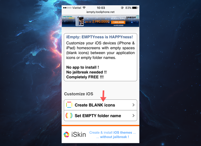 """Vào trình duyệt safari và truy cập vào địa chỉ """"iempty.tooliphone.net"""". Sau đó chọn """"Create BLANK icons""""."""