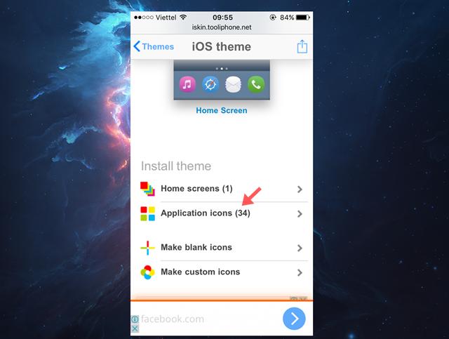 Chọn gói icon mà mình thích và nhấp Install theme > Application icons