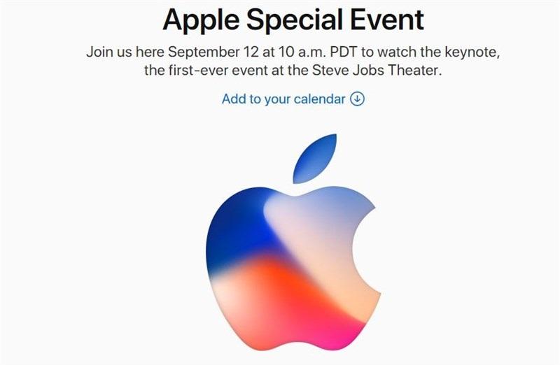 Apple chính thức gửi lời mời sự kiện ra mắt iPhone 8 vào ngày 12/9