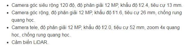 thông số camera của iPhone 12 Pro Max 256GB