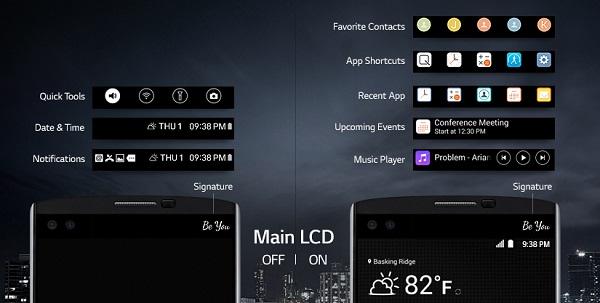 LG V10 cũ có màn hình phụ hổ trợ kết nối nhanh và tiện lợi hơn