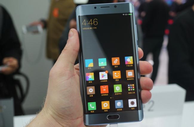 Xiaomi Mi Note 2 thiết kế mặt trước