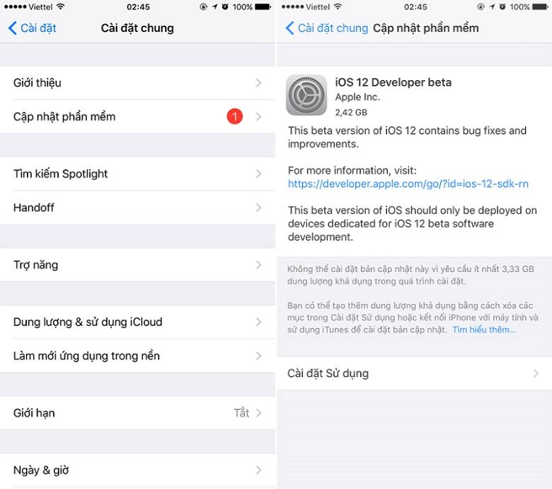 iOS 12 Public beta 2 bản thử nghiệm