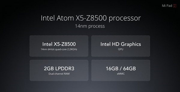 MiPad 2 sở hữu cấu hình tốt so với tầm giá