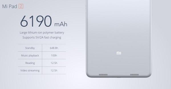 Xiaomi MiPad 2 có dung lượng pin khá lớn