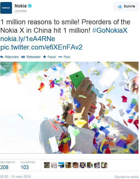 Nokia X bứt phá với 1 triệu đơn hàng trong 4 ngày