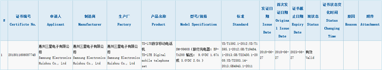 Thông tin về chứng nhận của Note 9