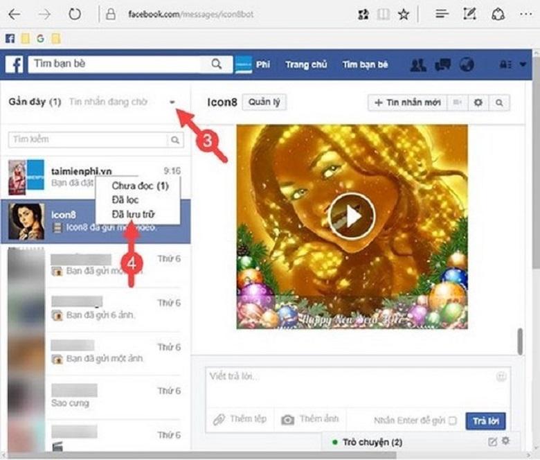 cách phục hồi tin nhắn facebook bước 3