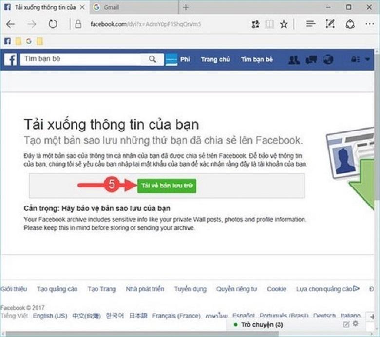 cách phục hồi tin nhắn facebook cách 2 bước 2