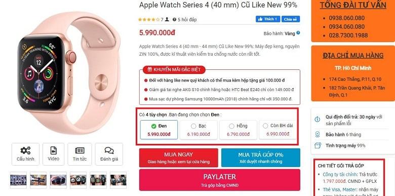 giá Apple Watch Series 4 40mm