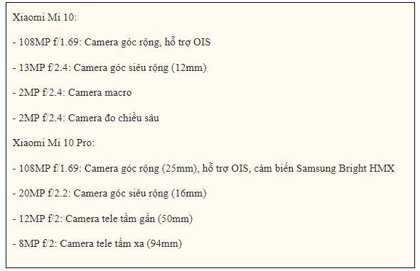 camera Xiaomi Mi 10 5G và Xiaomi Mi 10 Pro 5G