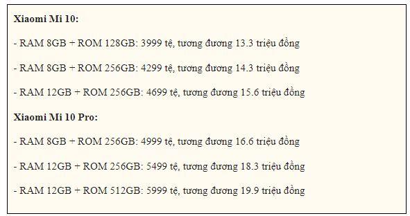 giá Xiaomi Mi 10 5G và Mi 10 Pro 5G