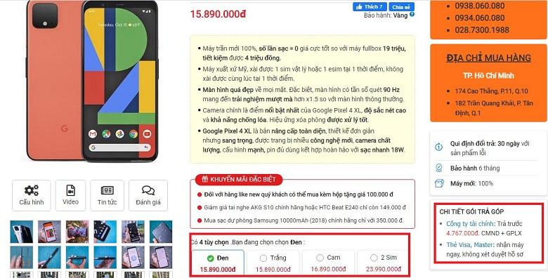 Đặt mua Google Pixel 4 XL