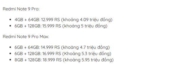 giá Redmi Note 9 Series