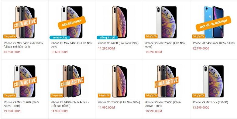 giá iPhone Xs, Xs Max
